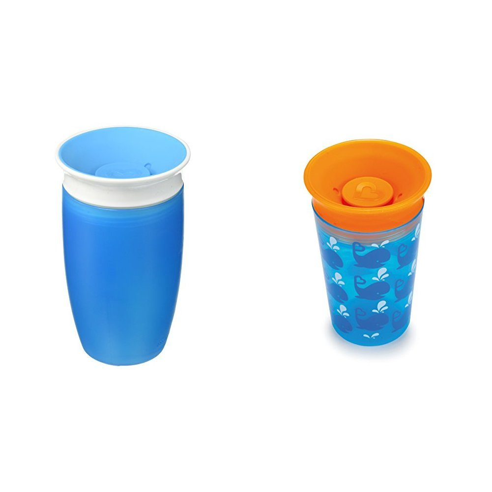 Munchkin Miracle 360 Sippy Cup, 266 ml/296 ml, Blue/Whale, Pack of 2