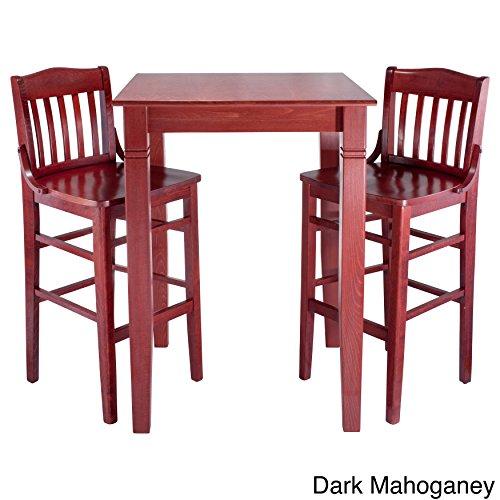 Beechwood Finish Table (Beechwood Mountain Library Solid Wood 3-piece Bar Table Set Dark Mahogany Dark Mahogany Finish)