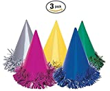 Fringed Foil Party Hats, Assorted 6ct (3 packs)