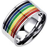 MENSO Men Women's Classic Stainless Steel Rainbow Striped Ring Valentine Couples Wedding Bands...