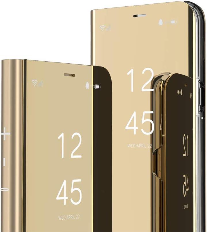 Golden QH IMEIKONST iPhone 11 Pro Max Etui Bookstyle Miroir Clair Vue Makeup Smart View Standing Full Body Protecteur Housse Coque Etui /à Rabat Coque pour iPhone 11 Pro Max Flip Mirror