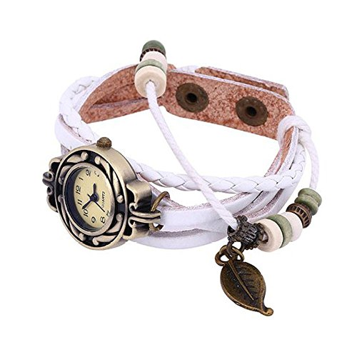 Muranba 2019 ! Brown Retro Weave Wrap Lady Bead Leaf Dangle Bracelet Bangle Quartz Wrist Watch (White)