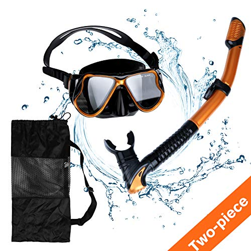 (Aritan Snorkeling Snorkel Package Set, Anti-Leak Anti-Fog Coated Glass Diving Panoramic View Clear Tempered Glass Mask, Dry Top Soft Mouthpiece Snorkel Tube, Snorkeling Gear Bag (Golden, Two-Piece))