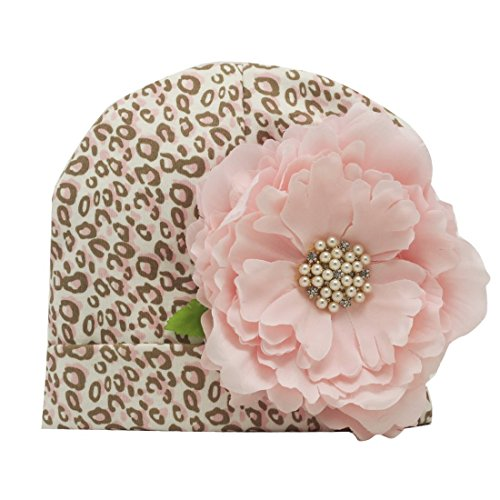 Nihao Baby Flower Beanie Infant Cap Newborn Toddler Girl Hat for Babies (Pink, 0-6 Months)