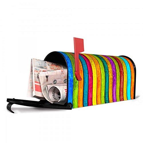 banjado - Amerikanischer Briefkasten 17x22x51cm US Mailbox mit Motiv Bunte Holzlatten, Briefkasten mit silbernem Standfuß