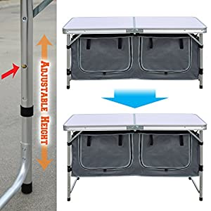 BenefitUSA Outdoor Folding Table 47-Inch Aluminum Lightweight Camping Picnic Table Adjustable Height with Storage Organizer