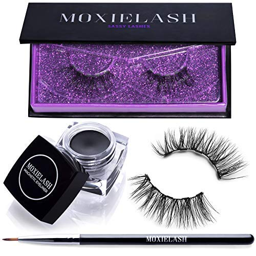 MoxieLash Sassy Bundle - MoxieLash Magnetic Gel Eyeliner for Magnetic Eyelashes - No Glue & Mess Free - Fast & Easy Application - (1) Set of Sassy Lashes, Brush ()