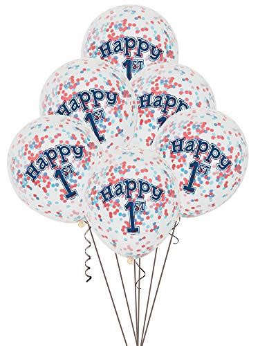 12 Nautical Boys 1st Birthday Confetti Balloons, 6ct