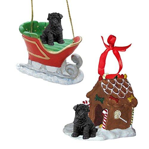 (Black Shar Pei Figurine Christmas Ornaments)