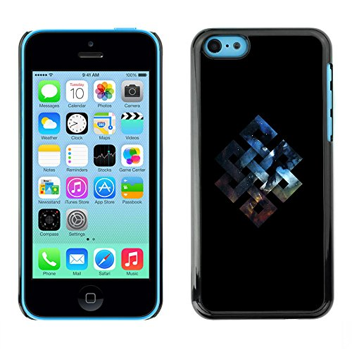 SuperStar // Refroidir image Étui rigide PC Housse de protection Hard Case Protective Cover for iPhone 5C / Géométrie Espace Fortune Knot /
