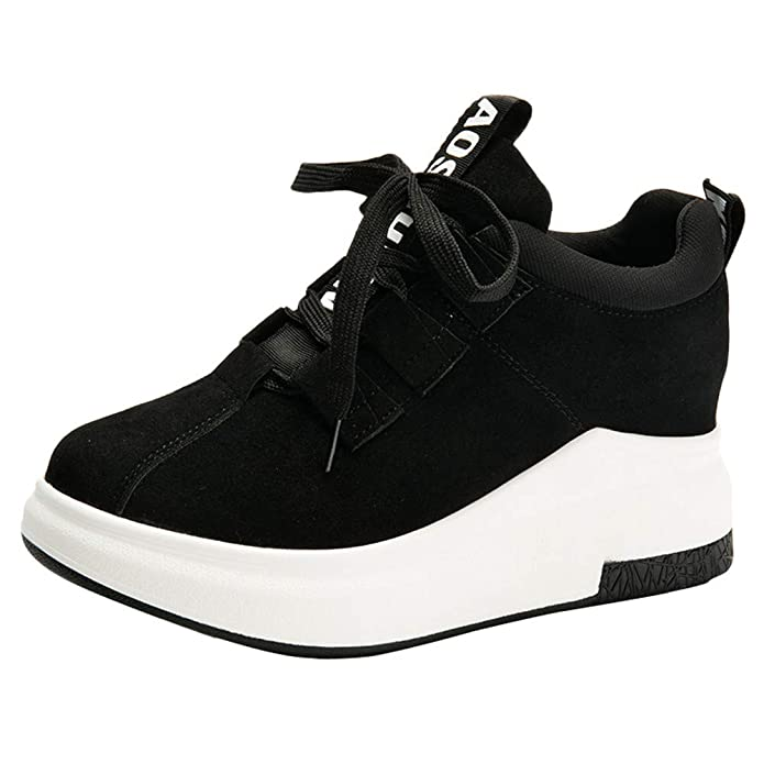 Amazon.com | AgrinTol Women Casual Outdoor Flat Sports Thick-Soled Platform Breathable Sneakers Black | Shoes