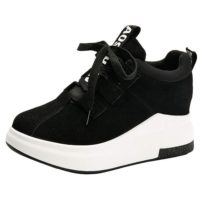 Zapatos Deportivos de Mujer Plataforma de Suela Gruesa, Casual Zapatos Planos Deportivos al Aire Libre Zapatillas de Deporte Respirables otoño ...