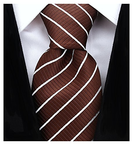Brown Striped Woven Necktie - Striped Ties for Men - Woven Necktie - Brown w/White