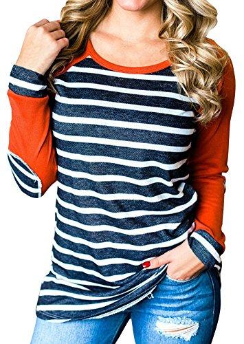 XCHQRTI Womens Striped Elbow Patch Baseball T-Shirt Long Sleeve O-Neck Splicing Tops