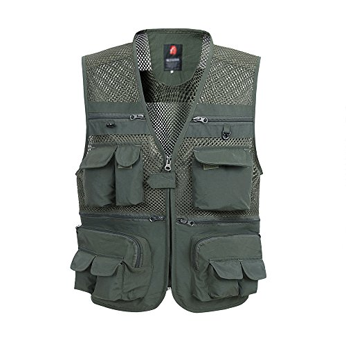 yiboolai Summer Style Fishing Vest Multi-Pockets Vest Waistcoat with Thin Design of Muilt-function Quick Dry for mountaineering Male Photographer Fishing