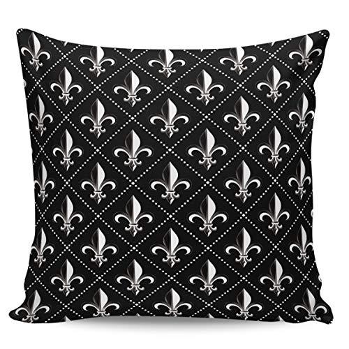 Velvet Soft Decorative Square Throw Pillow Covers Euro Shams Cushion Cases Pillowcases for Sofa Couch Chair Bedroom Car, Fleur De Lis Iris Damask with Vintage Geometric Diamond Lines Black 18