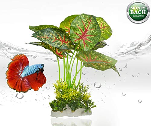 Leaves Soft - Wzhe Betta Fish Tank Plants Aquarium Decorations Hiding Plants Plastic with Real Looking Big Soft Leaf, Green and Red
