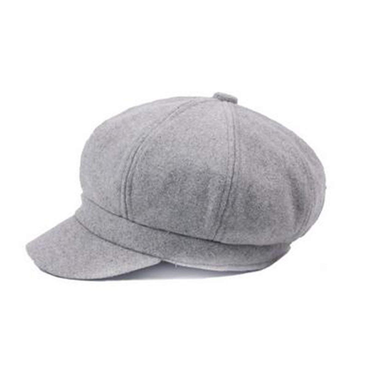 Fancuistore Wool Cap for Women's Casual Adjustable Travel Hat Berets (Color : Grey, Size : One Size)