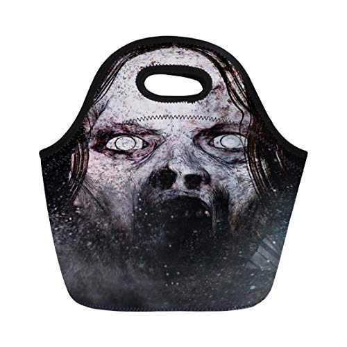 Semtomn Lunch Tote Bag Movie 3D of Scary Ghost Woman Horror Mixed Media Reusable Neoprene Insulated Thermal Outdoor Picnic Lunchbox for Men Women ()