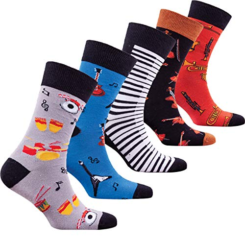 Socks n Socks-Men 5 pk Colorful Cotton Novelty Music Piano Guitar Sock Gift -