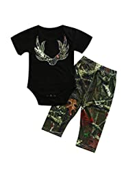 2pcs Baby Boy Bodysuit Pants Set Black Romper Camouflage Pattern Pants Outfit