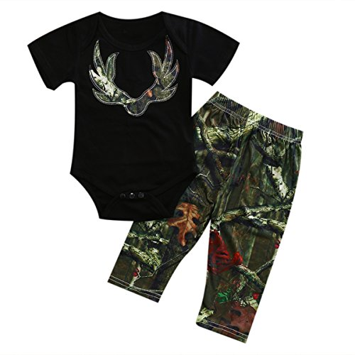 ITFABS 2pcs Cute Baby Boy Girl Pants Sets Black Short Sleeve Romper + Camouflage Pants Outfits Clothes Sets (100(18-24months), (Cute Camo Clothes)