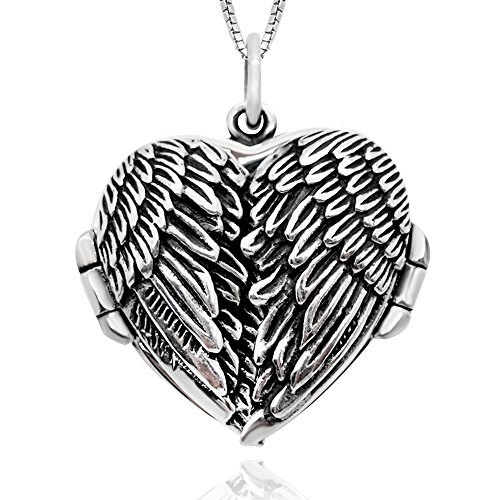 (925 Sterling Silver Feather Guardian Angel Wing Heart Shape Locket Pendant Necklace for Women,)