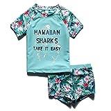 PHIBEE Girls' Short Sleeve Rash Guard Set UPF 50+ Sun Protection Two-Piece Swimwear