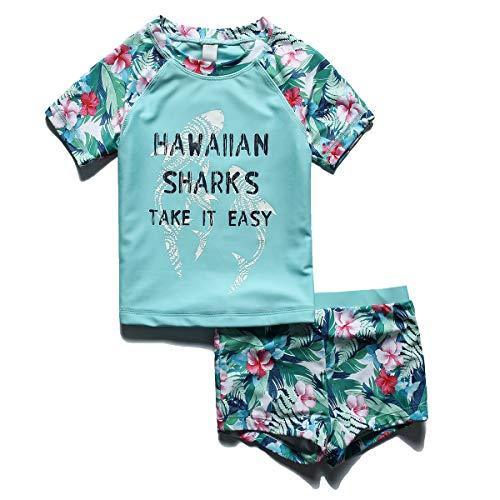 PHIBEE Girls' Short Sleeve Rash Guard Set UPF 50+ Sun Protection Two-Piece Swimwear Green - Girls Rash Guard Short Sleeve