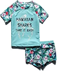 PHIBEE Girls' Short Sleeve Rash Guard Set UPF 50+ Sun Protection Two-Piece Swim