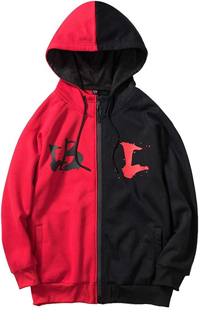 Autumn Winter Pattern Leisure Jacket Collar Comfy Casual Coat YKARITIANNA Mens Super Swaggy Color Block Street Hood Jackets