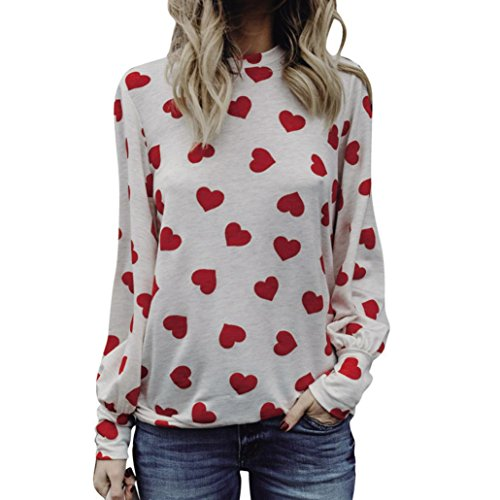 Women Valentine's Day Gift Shirt,Lelili Fashion Love Heart Printed Polka Dot Long Sleeve Crewneck Tops Blouses (2XL(Asian 2XL=US XL), Watermelon (Printed Crewneck Knit Top)