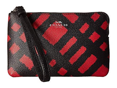 - COACH Women's BF Wild Plaid Corner Zip Sv/Red/Black Multi One Size