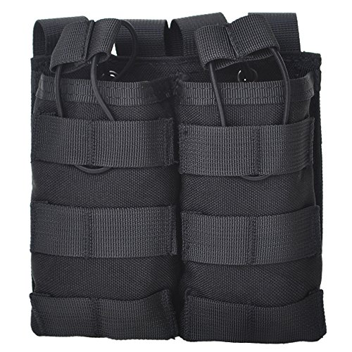 TOPTIE Tactical Magazine Pouch, M4 M16 AR-15 Type Molle Mag Pouch, Double/Triple Airsoft Open-Top Mag Holder-Double Black