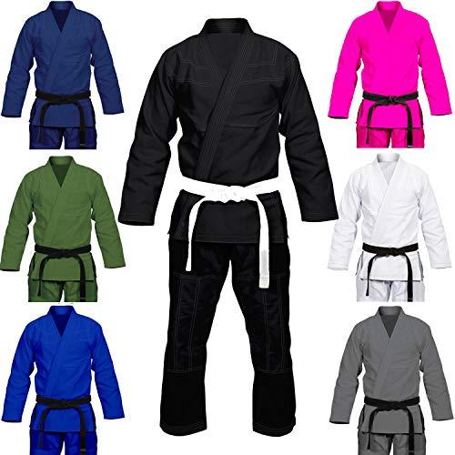 Max5 Full Blank Brazilian Jiu Jitsu Gi MMA Martial Arts Uniform BJJ Gi Grappling Kimono (Navy Blue, A1)