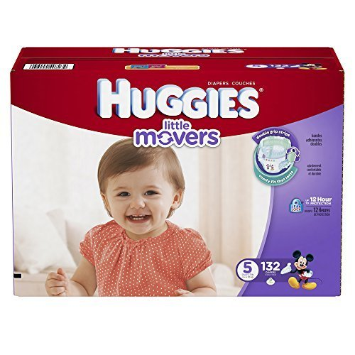 Huggies Little Movers Diapers, Size 5, 132 Count (Packaging May Vary) by Huggies by HUGGIES