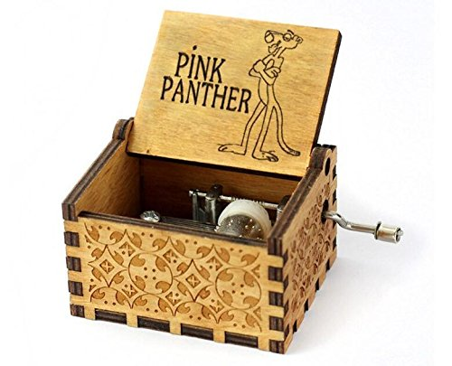 Biscount The Pink Panther Movie Theme Antique Carved Music Box Hand Crank Wooden Musical BoxToy (Pink Panther Merchandise)