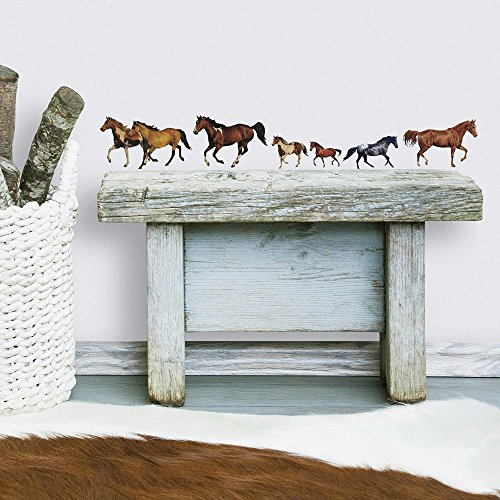 Appliques Decals Wall (RoomMates RMK1017SCS Wild Horses Peel and Stick Wall Decals)