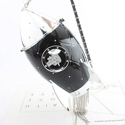 Black forme paquet créative personnel sac Femmes embrayage épaule frange espace soirée tendance en de de Mini dîner Messenger fusée wtqUqTvd