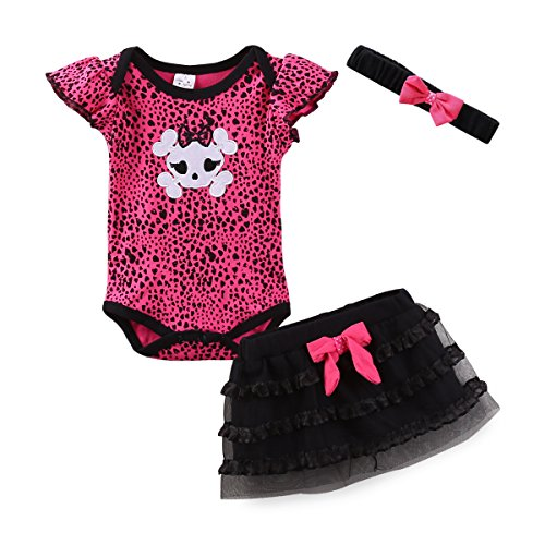 LittleSpring Newborn Girls Clothes Baby Romper Outfit Skirt Set Summer Clothing