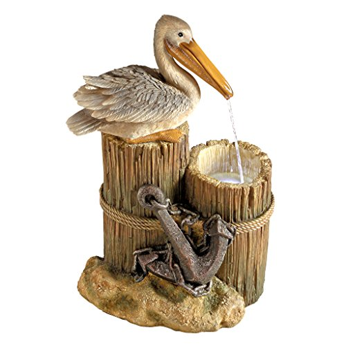 Coastal Decor Water Fountain with LED Light – Pelican's Seashore Roost Garden Decor Fountain – Outdoor Water Feature