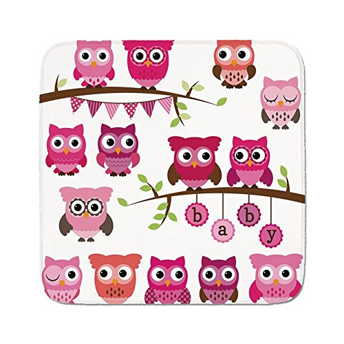 Cozy Seat Protector Pads Cushion Area Rug,Nursery,Girl Baby Shower Themed Owls and Branches Adorable Cartoon Animal Characters,Purple Pink Brown,Easy to Use on Any Surface -