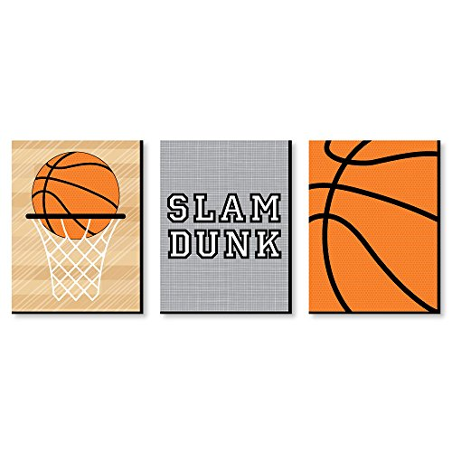 "Nothin' But Net - Basketball - Sports Themed Wall Art & Kids Room Decor - 7.5"" x 10"" - Set of 3 Prints"