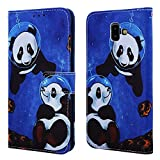 EnjoyCase Wallet Case for Galaxy J6 Plus 2018,Colorful Sea Panda Pattern Pu Leather Bookstyle Card Slots Magnetic Flip Cover With Hand Strap for Samsung Galaxy J6 Plus 2018