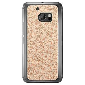 Loud Universe HTC M10 Floral Decorative Printed Transparent Edge Case - Beige/Orange