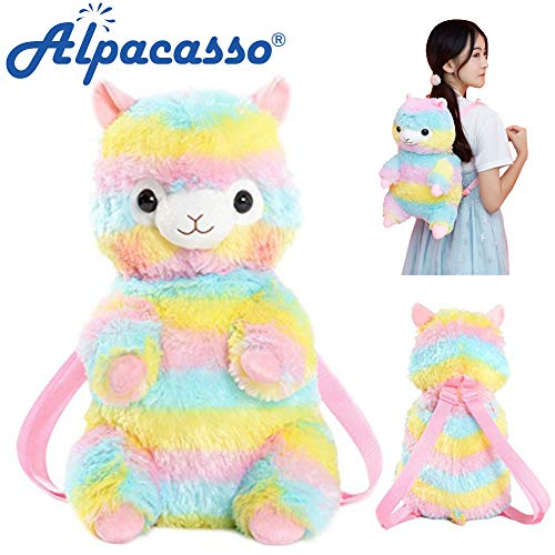 Alpacasso 3D Cute Plush Animal Backpack Rainbow Alpaca Llama Bag Stuffed Animal Doll Toddler Backpack Children Schoolbag . (Rainbow)