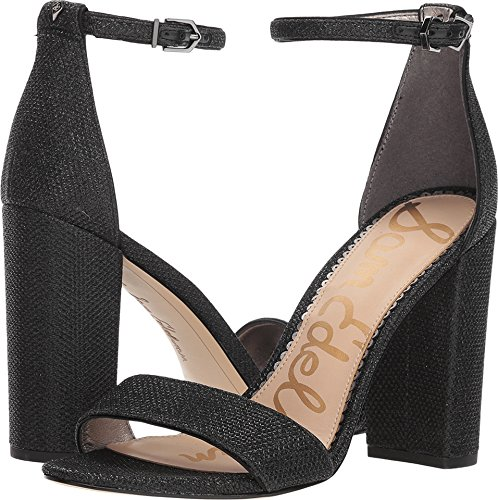 Sam Edelman Women's Yaro Heeled Sandal, Black Glam mesh, 9.5 M US