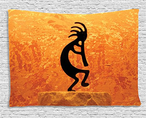 (Ambesonne Kokopelli Decor Collection, Kokopelli Southwestern Style Native American Indian Ancient Belief Picture Art, Bedroom Living Room Dorm Wall Hanging Tapestry, 60W X 40L Inch, Orange Black)