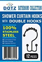 DOTZ Shower Curtain Hooks, Double Hook Shower Rings | Resists Rust & Won't Snag or Tear | Many Color Options Available