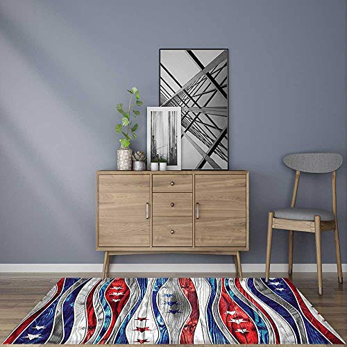 Rug Easy to Clean, Durable American Flag Colored Wood Stripe